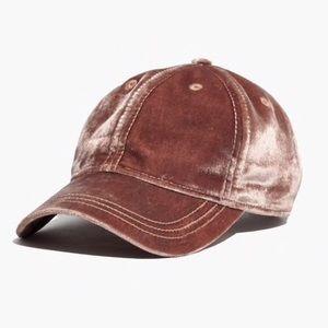 Madewell Blush Pink Velvet Baseball Cap